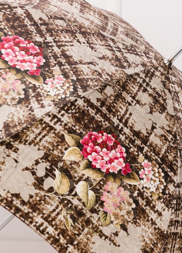 Paraguas con estampado floral color beige y puño transparente. - Ítem1
