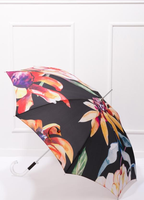 Paraguas con estampado floral color negro y puño transparente.