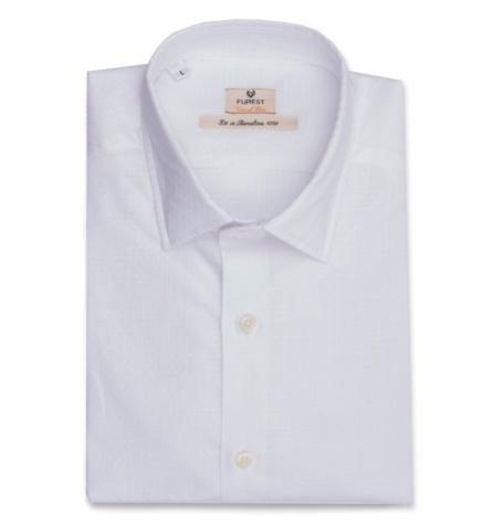 Camisa Casual Wear SLIM FIT Modelo PORTO Tejido CASTELLI microdibujo color blanco, 100% Algodón