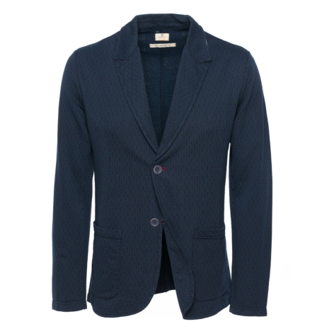 Americana Formal Wear tipo punto, color micro print azul marino, 85% Algodón 10% Poliamida 5% Elastán