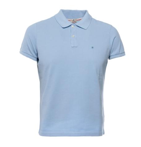 Washed Cotton-Pique Polo Shirt color celeste, 100% Algodón.