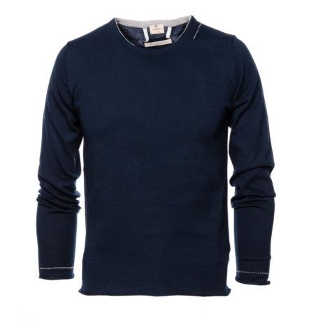 Jersey Casual Wear, SLIM FIT cuello redondo color marino, 100% algodón