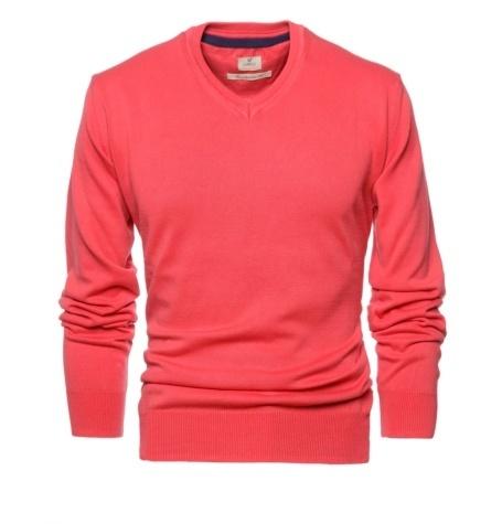 Jersey Casual Wear, SLIM FIT cuello pico color rojo, 100% algodón