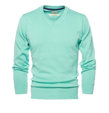 Jersey Casual Wear, SLIM FIT cuello pico color verde, 100% algodón