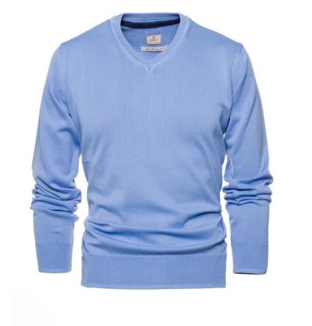 Jersey Casual Wear, SLIM FIT cuello pico color azul, 100% algodón