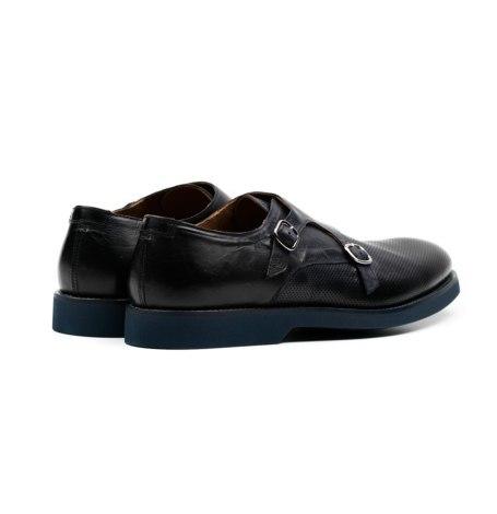 Zapato color azul marino con doble hebilla y combinación de piel lisa y piel perforada. - Ítem3
