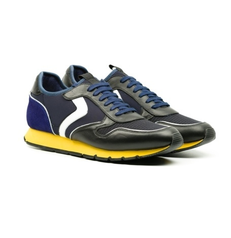 Bambas moda hombre modelo LIAM DIVE color negro y azul con suela amarilla - Ítem2