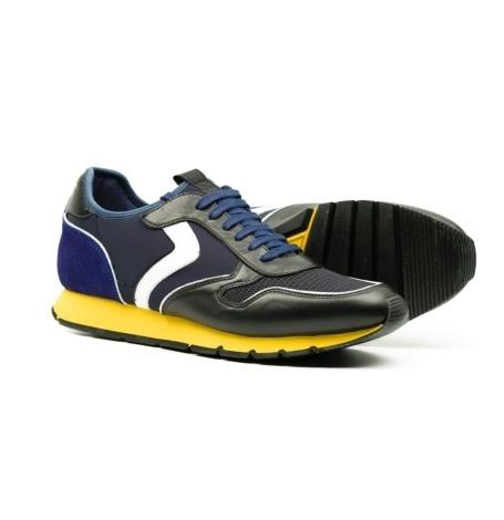 Bambas moda hombre modelo LIAM DIVE color negro y azul con suela amarilla - Ítem3
