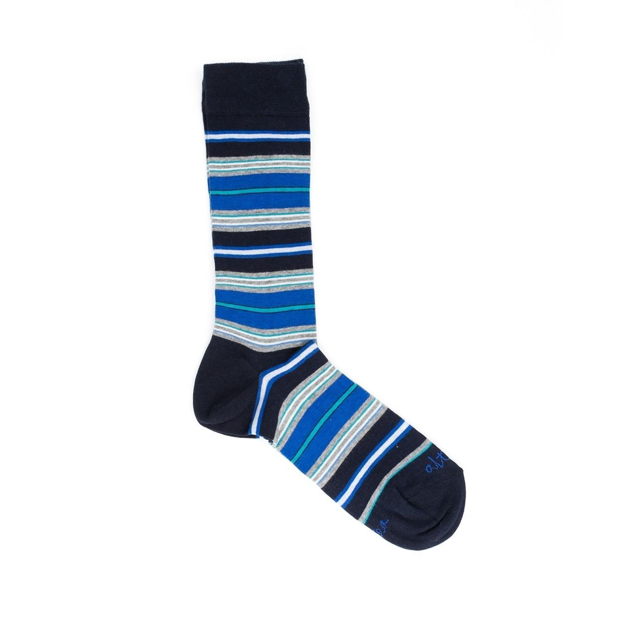Calcetín multi rayas color azul marino, 100% Algodón.