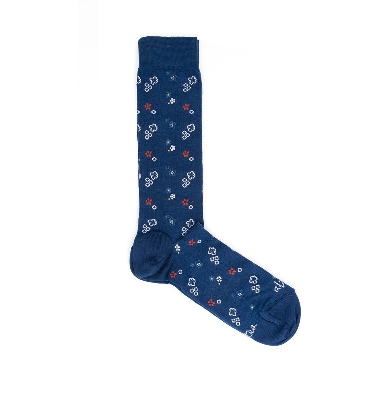 Calcetín con dibujos florales color azul, 100% Algodón.
