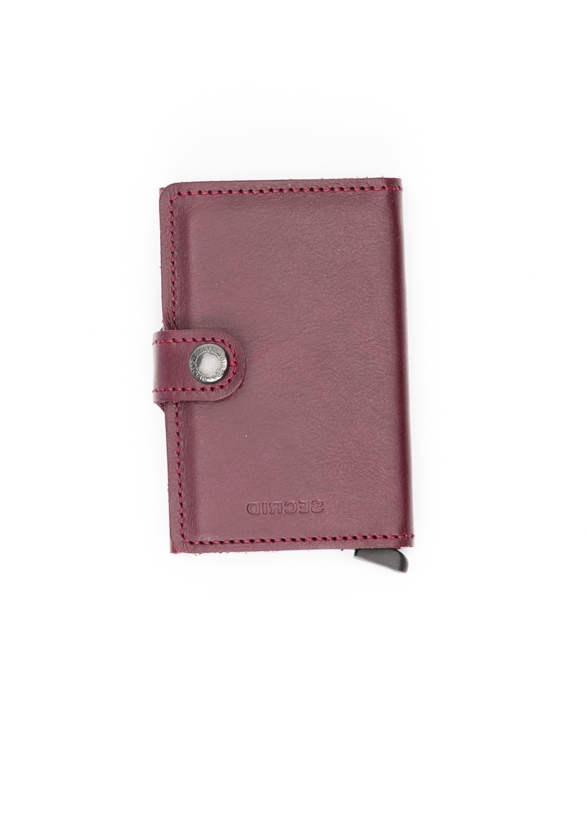 Secrid slim wallet piel color burdeos, con cardprotector de aluminio ultrafino.