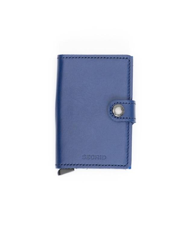 Secrid slim wallet piel color azul, con cardprotector de aluminio ultrafino.