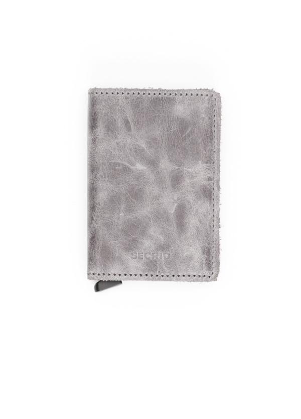 Secrid slim wallet piel color gris perla, con cardprotector de aluminio ultrafino.