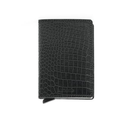 Secrid slim wallet piel grabada color negra, con cardprotector de aluminio ultrafino.