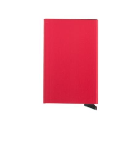 Tarjetero Secrid slim wallet aluminio rojo.