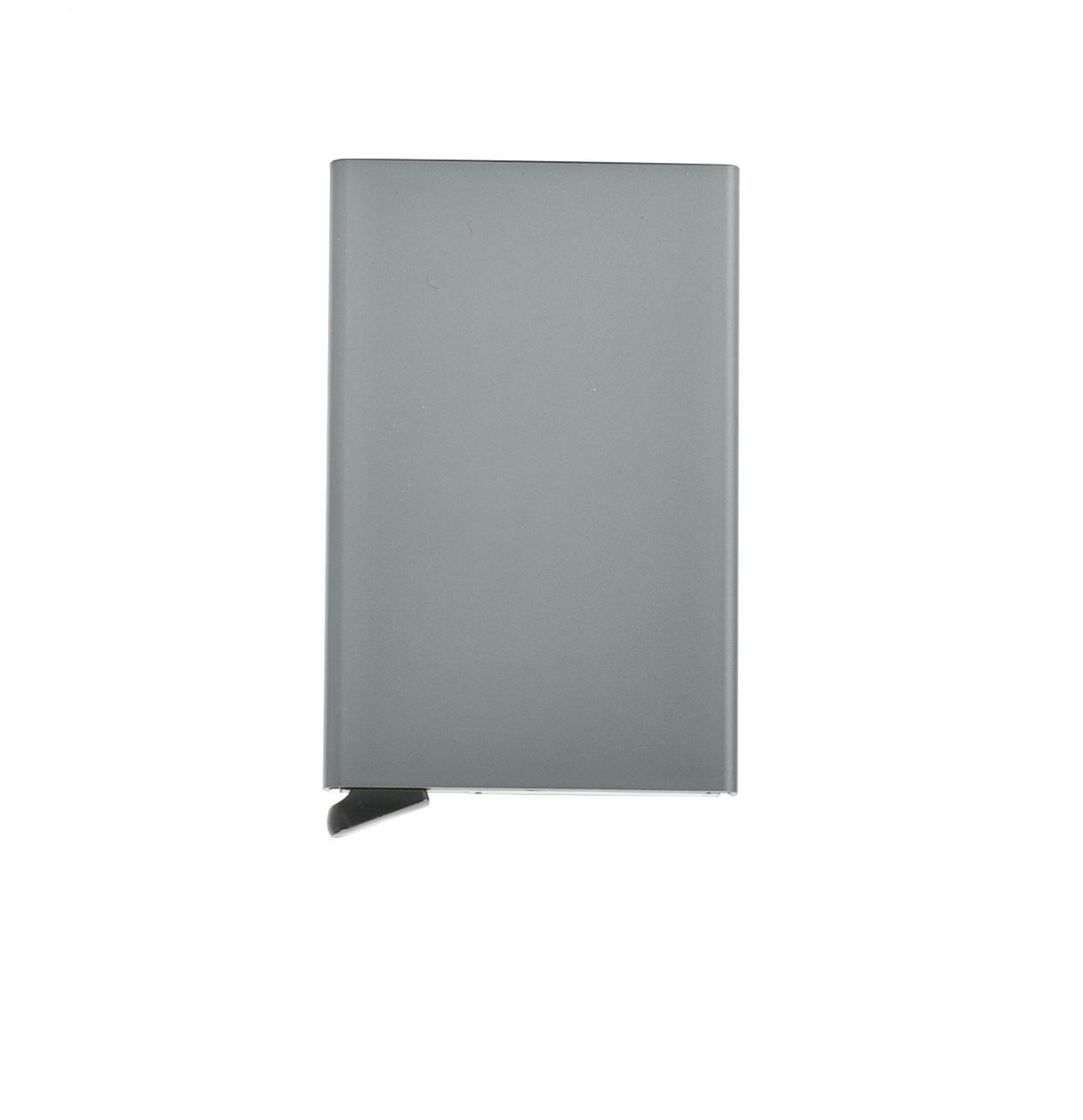 Tarjetero Secrid slim wallet aluminio color plomo.