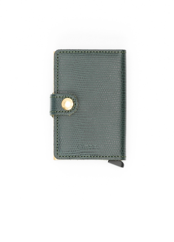 Secrid MINIWALLET. Piel color verde, con cardprotector de aluminio ultrafino.