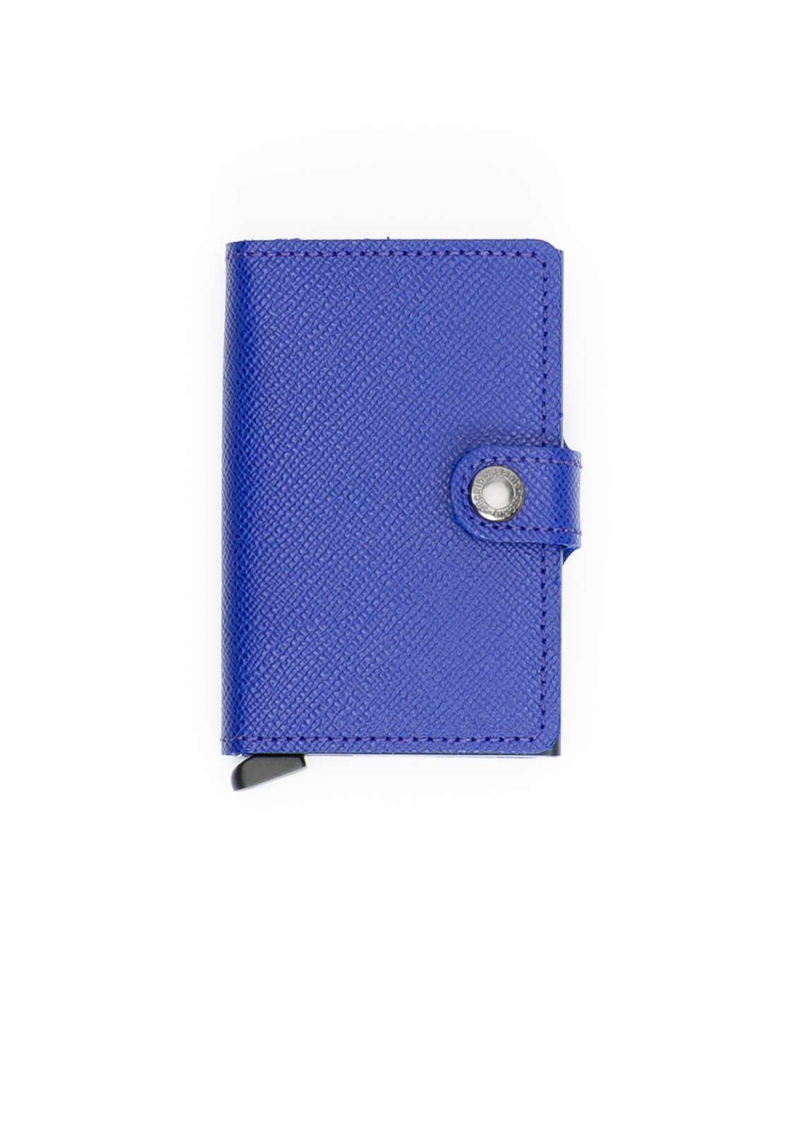 Secrid MINIWALLET. Piel color azul tinta, con cardprotector de aluminio ultrafino.