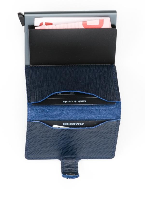 Secrid MINIWALLET. Piel color azul marino, con cardprotector de aluminio ultrafino. - Ítem1