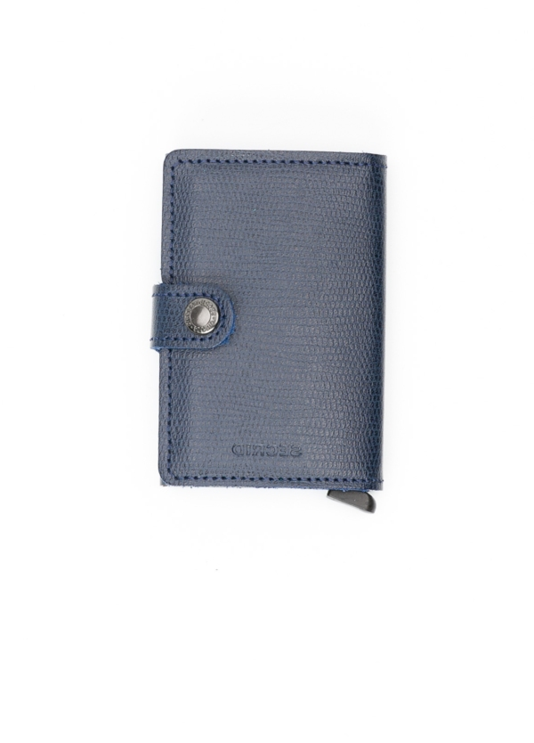 Secrid MINIWALLET. Piel color azul marino, con cardprotector de aluminio ultrafino.