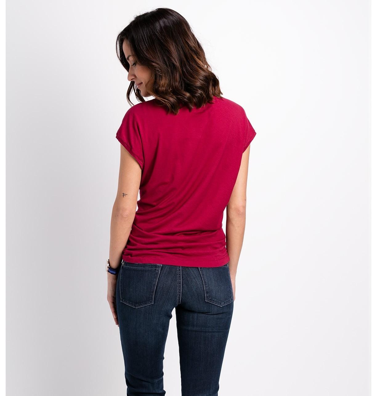 Blusa manga corta modelo TIMOR Doble tela color fresa, 100% algodón - Ítem1