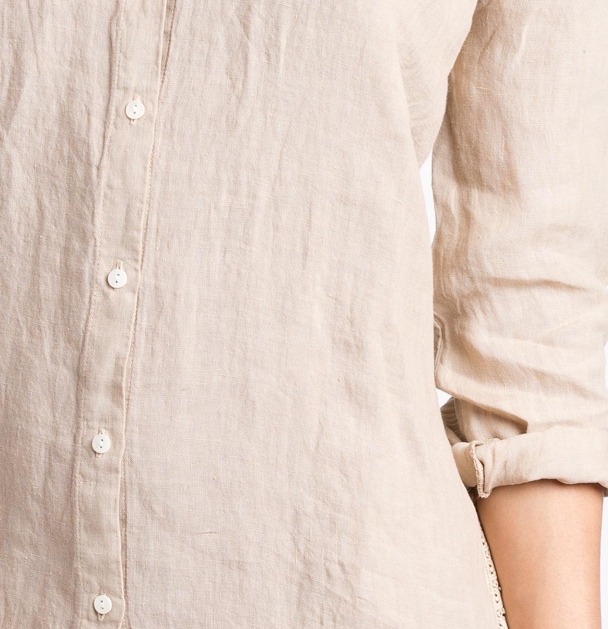 Vestido camisero oversize modelo EPOS color beige, 100% lino. - Ítem2