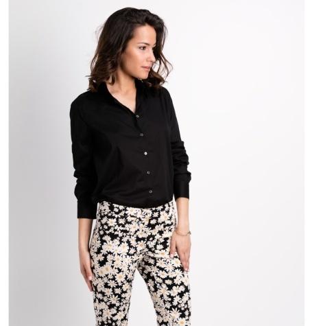 Blusa minimal chic, manga larga modelo BICE color negro, 100% Algodón