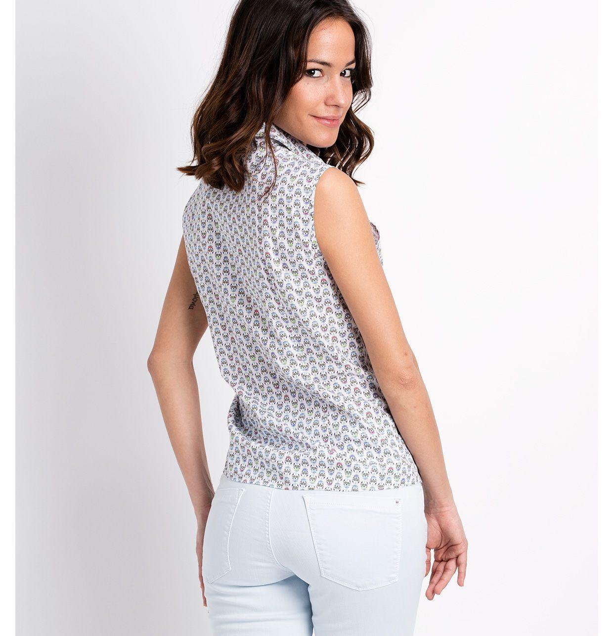 Camisa woman manga sisa, modelo ADA estampado de calaveras color crudo 100% Algodón