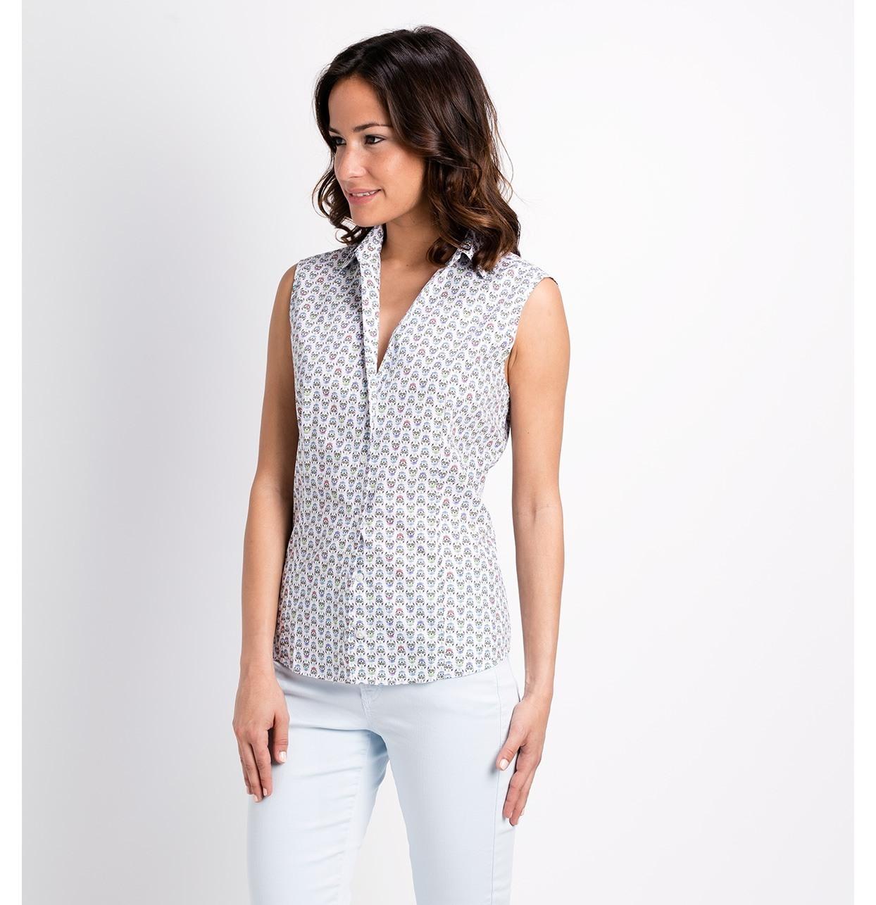 Camisa woman manga sisa, modelo ADA estampado de calaveras color crudo 100% Algodón - Ítem1
