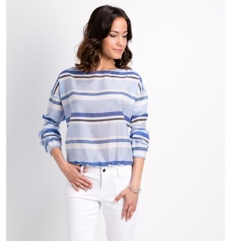 Blusa fluida de manga larga con cuello caja y fruncido en puños, modelo SIRA estampado rayas color azul 76% Algodón 24% Seda