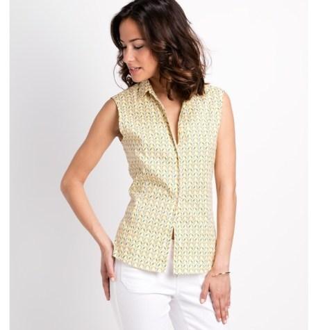 Camisa woman entallada manga sisa modelo ADA estampado de pájaros color amarillo 96% Algodón 4% Elastán