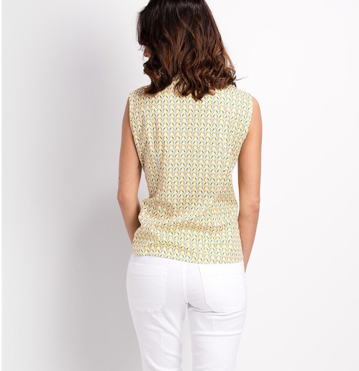 Camisa woman entallada manga sisa modelo ADA estampado de pájaros color amarillo 96% Algodón 4% Elastán - Ítem1