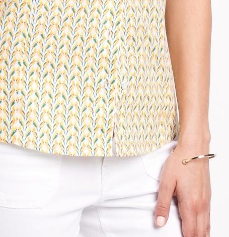 Camisa woman entallada manga sisa modelo ADA estampado de pájaros color amarillo 96% Algodón 4% Elastán - Ítem2