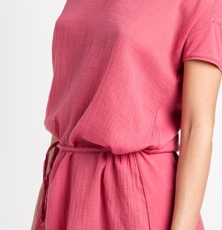 Vestido fluido manga corta modelo DRESS color rosa, 100% Algodón. - Ítem2