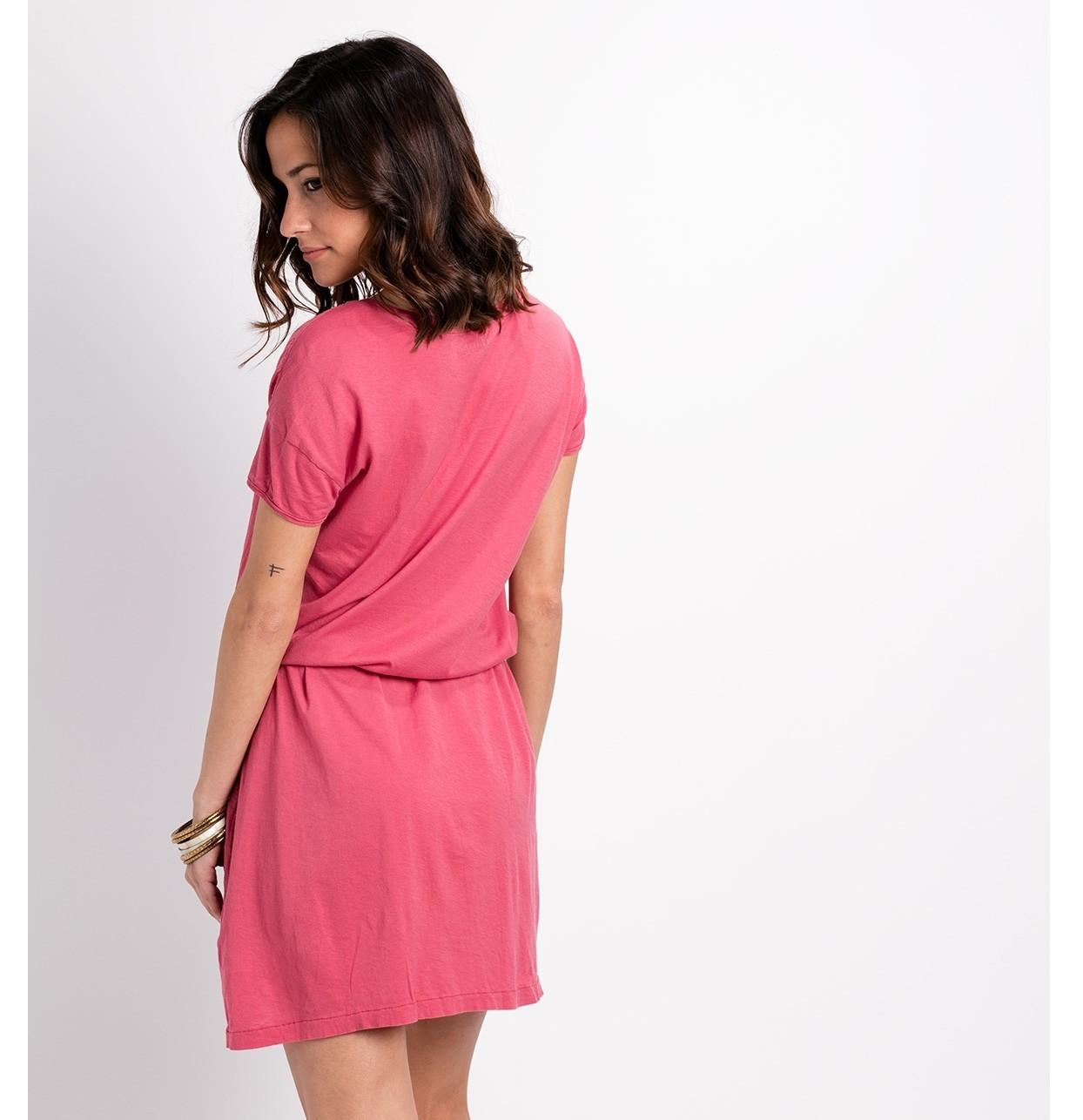Vestido fluido manga corta modelo DRESS color rosa, 100% Algodón. - Ítem1