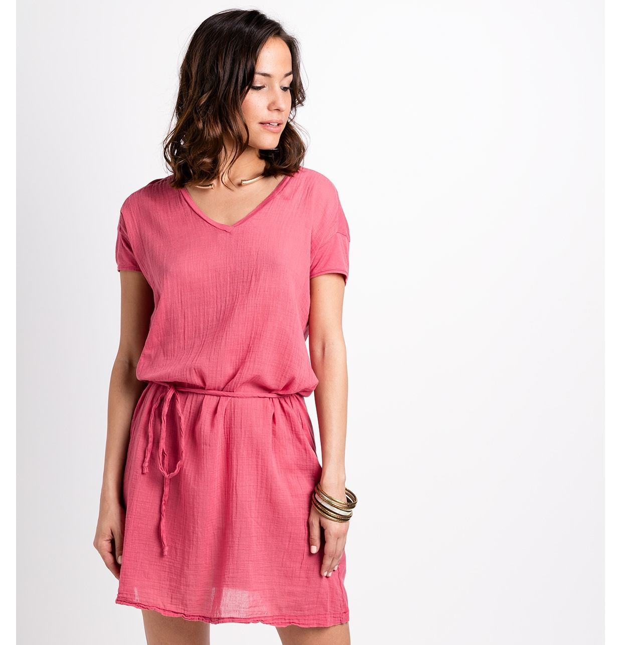 Vestido fluido manga corta modelo DRESS color rosa, 100% Algodón.