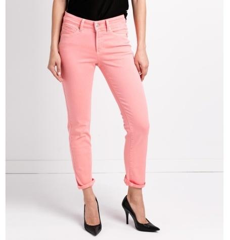 Pantalón tejano woman slim fit, color coral.