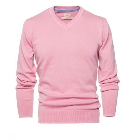 Jersey Casual Wear, SLIM FIT cuello pico color rosa, 100% algodón