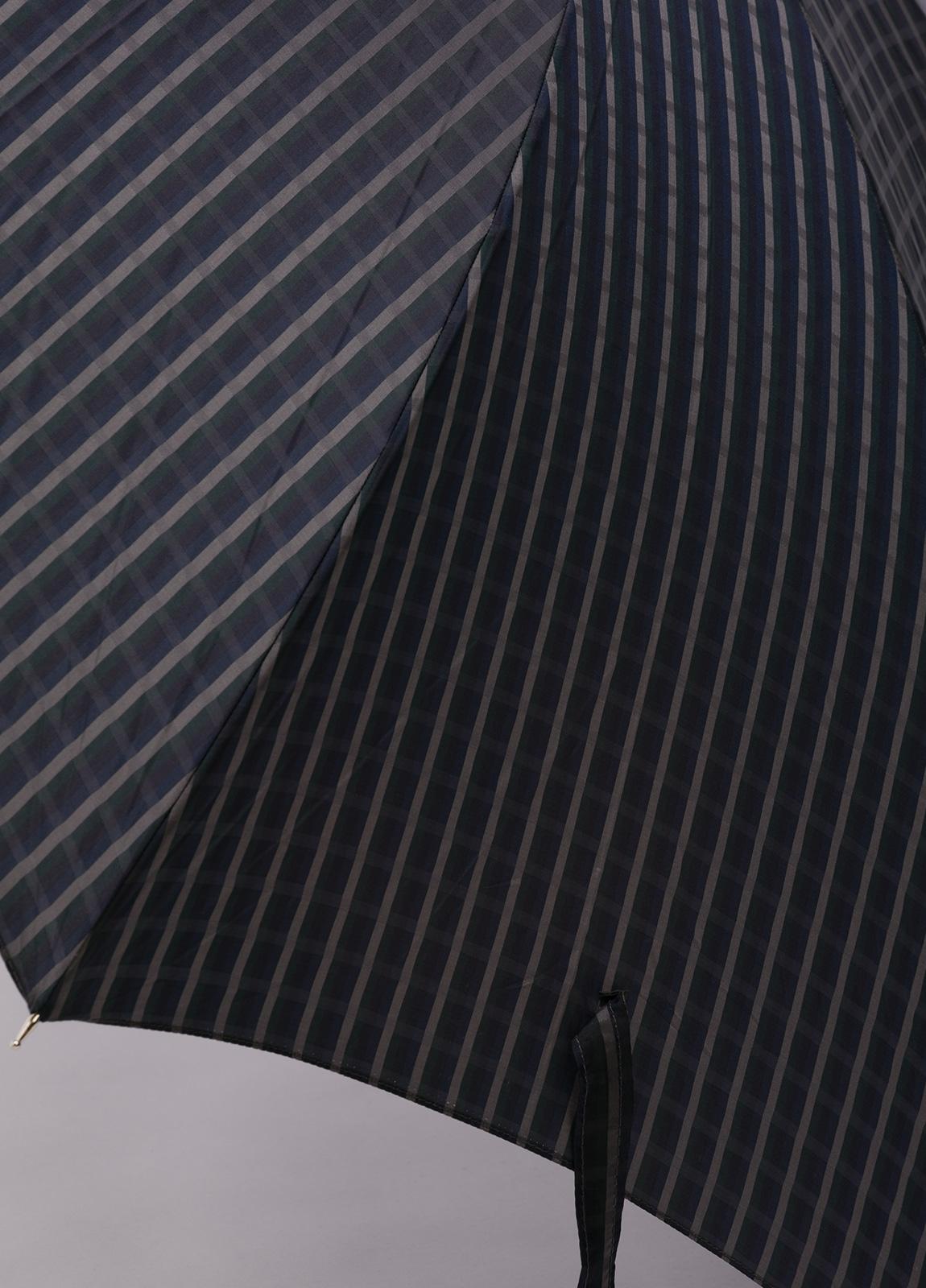 Paraguas con diseño de cuadros color gris y puño de madera. - Ítem1