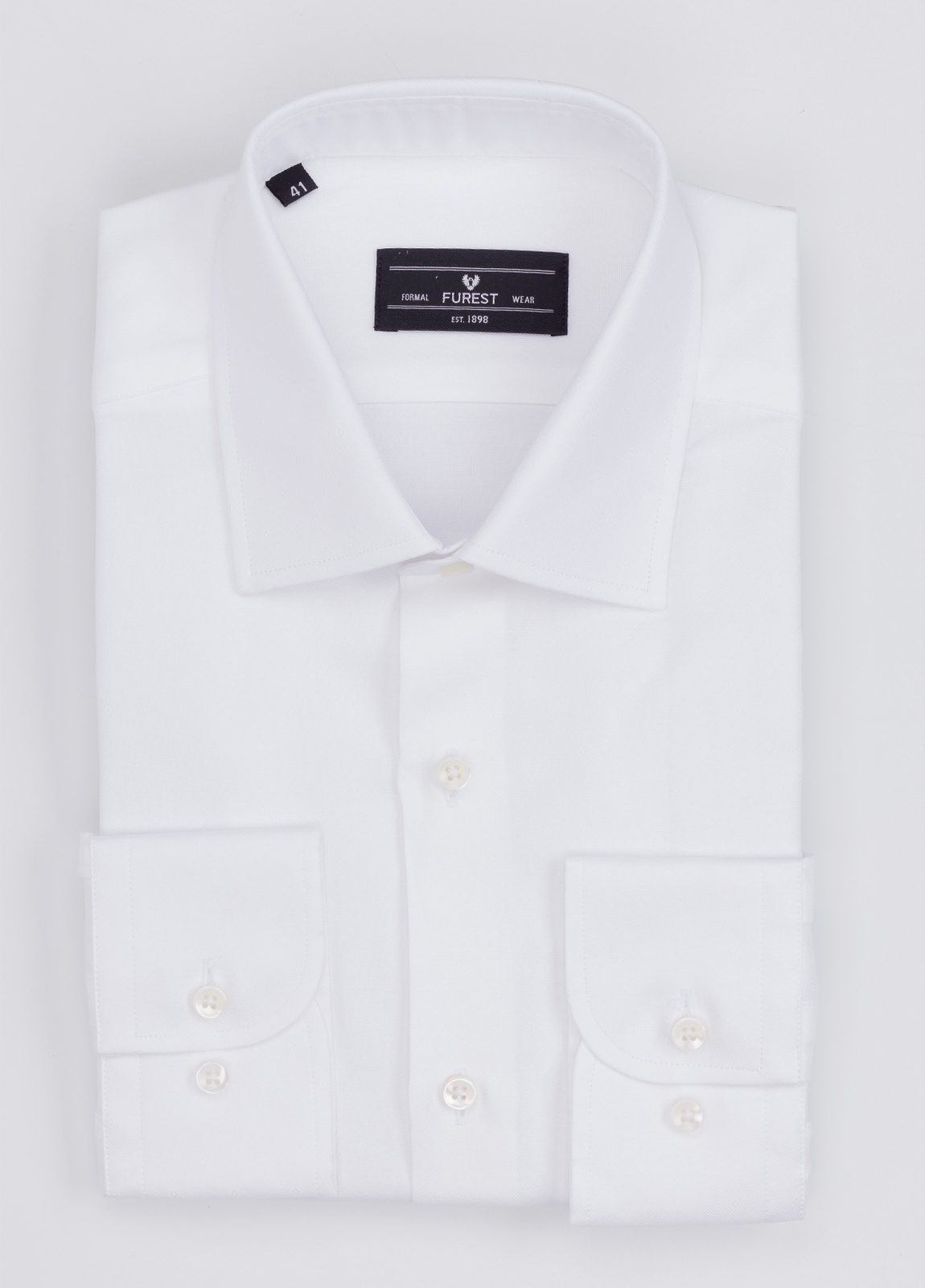 Camisa Formal Wear SLIM FIT cuello italiano modelo ROMA microdibujo color blanco. 100% Algodón.