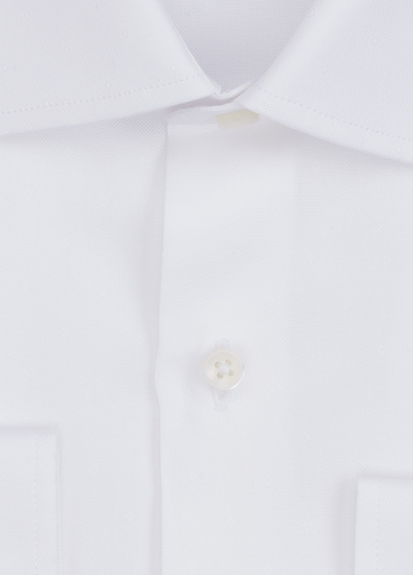Camisa Formal Wear SLIM FIT cuello italiano modelo ROMA microdibujo color blanco. 100% Algodón. - Ítem1