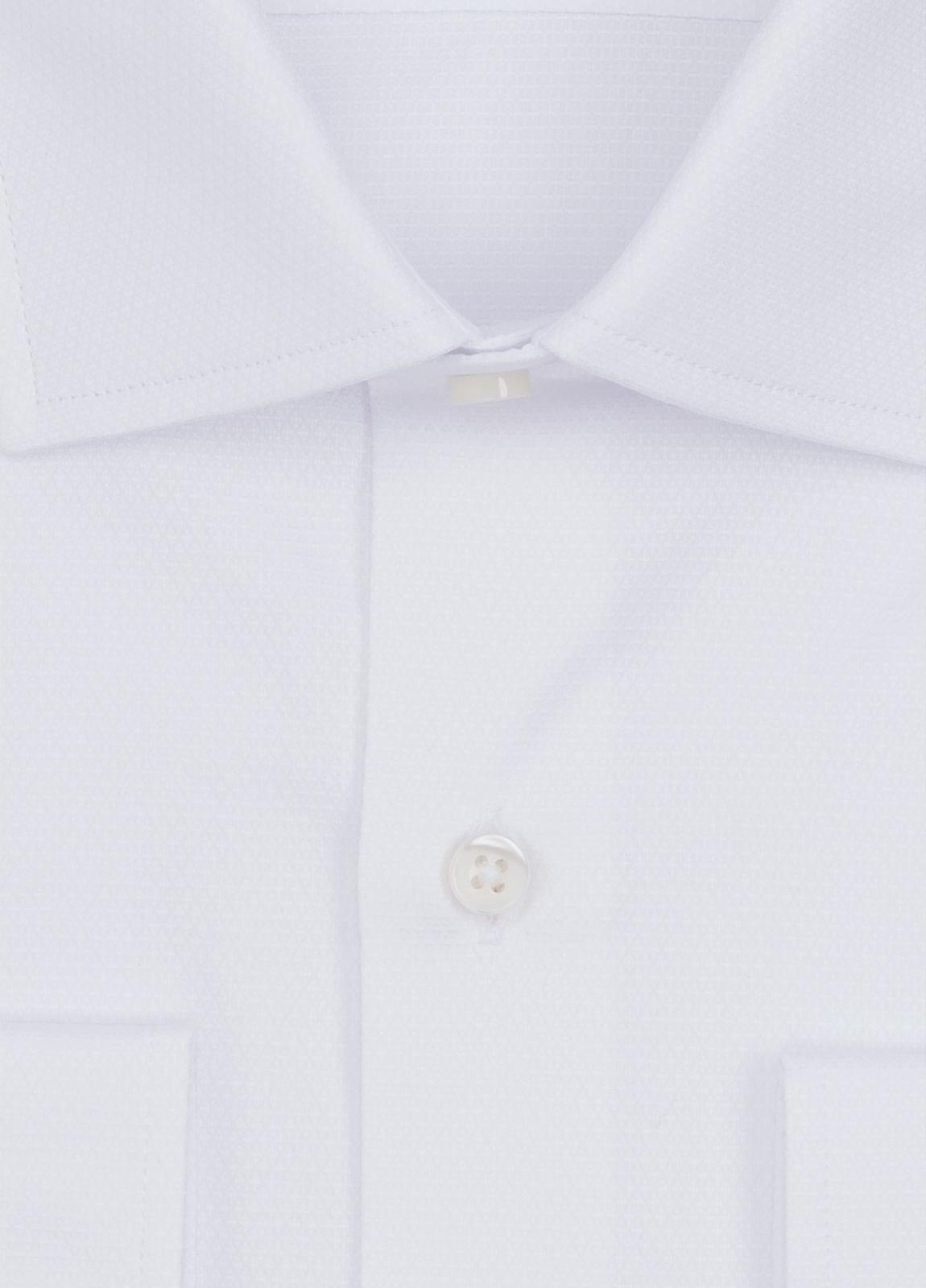 Camisa Formal Wear SLIM FIT cuello italiano modelo ROMA micrograbado color blanco. 100% Algodón. - Ítem1
