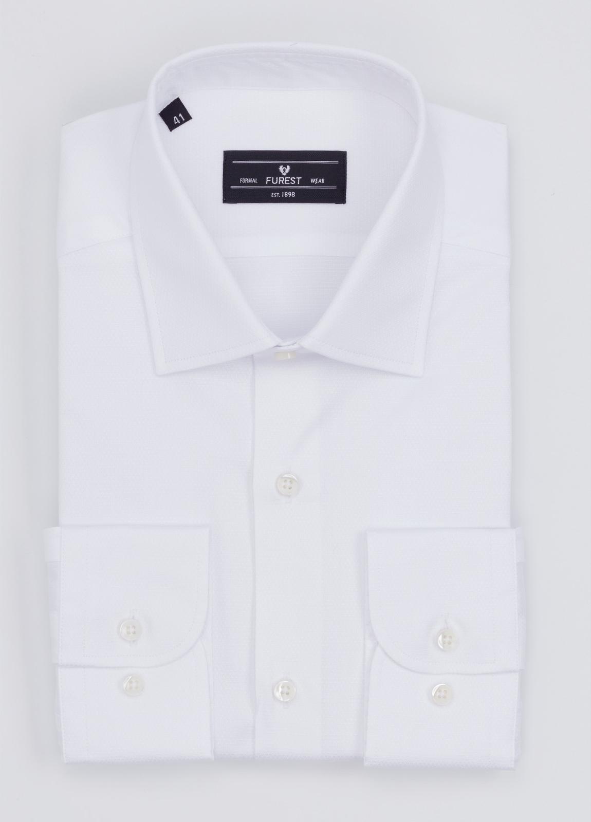 Camisa Formal Wear SLIM FIT cuello italiano modelo ROMA micrograbado color blanco. 100% Algodón.