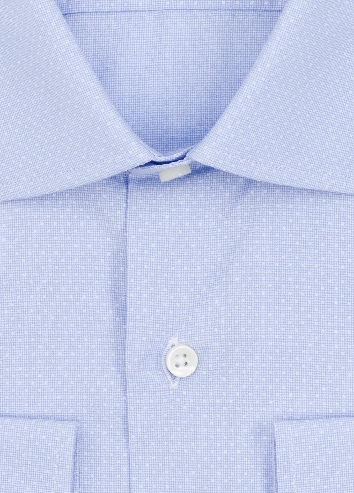 Camisa Formal Wear SLIM FIT cuello italiano modelo ROMA microdibujo color celeste. 100% Algodón. - Ítem1