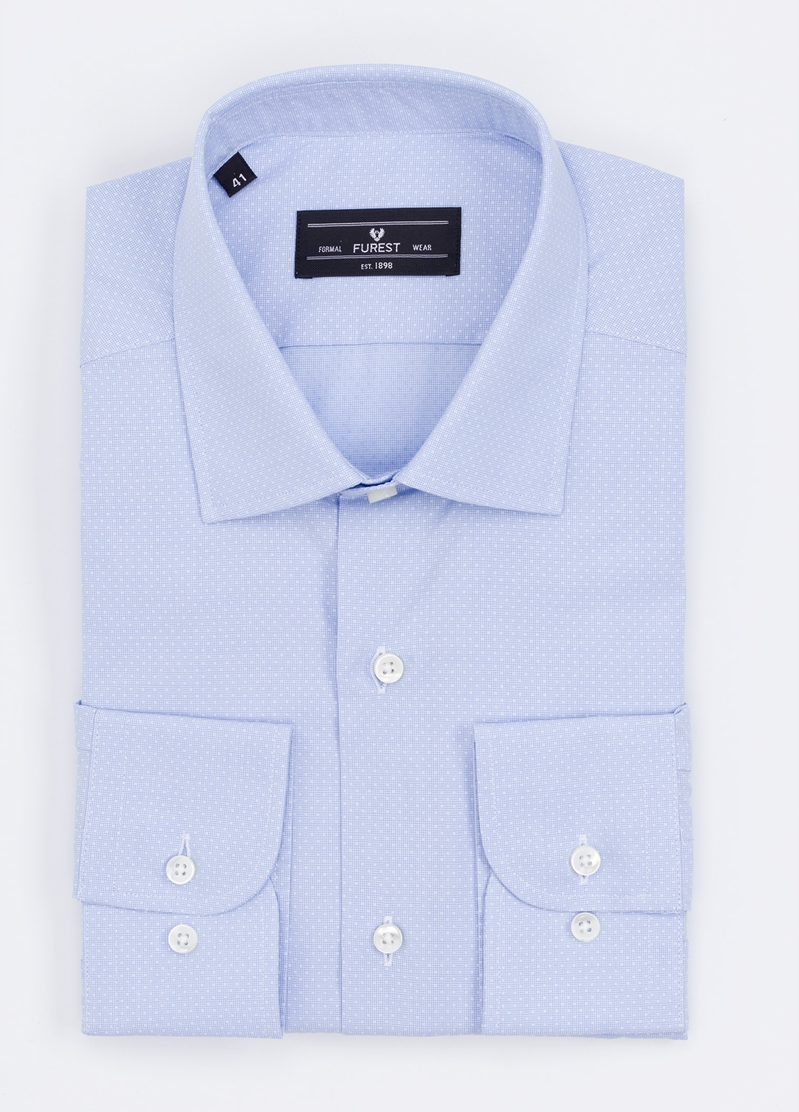 Camisa Formal Wear SLIM FIT cuello italiano modelo ROMA microdibujo color celeste. 100% Algodón.