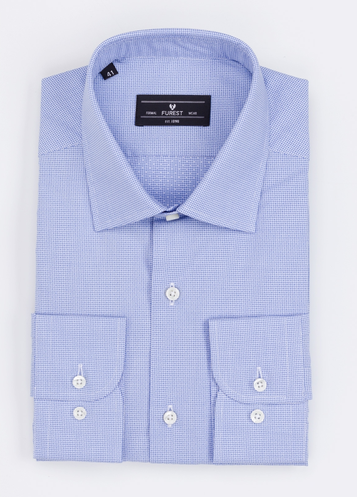 Camisa Formal Wear SLIM FIT cuello italiano modelo ROMA microdibujo color azul. 100% Algodón.