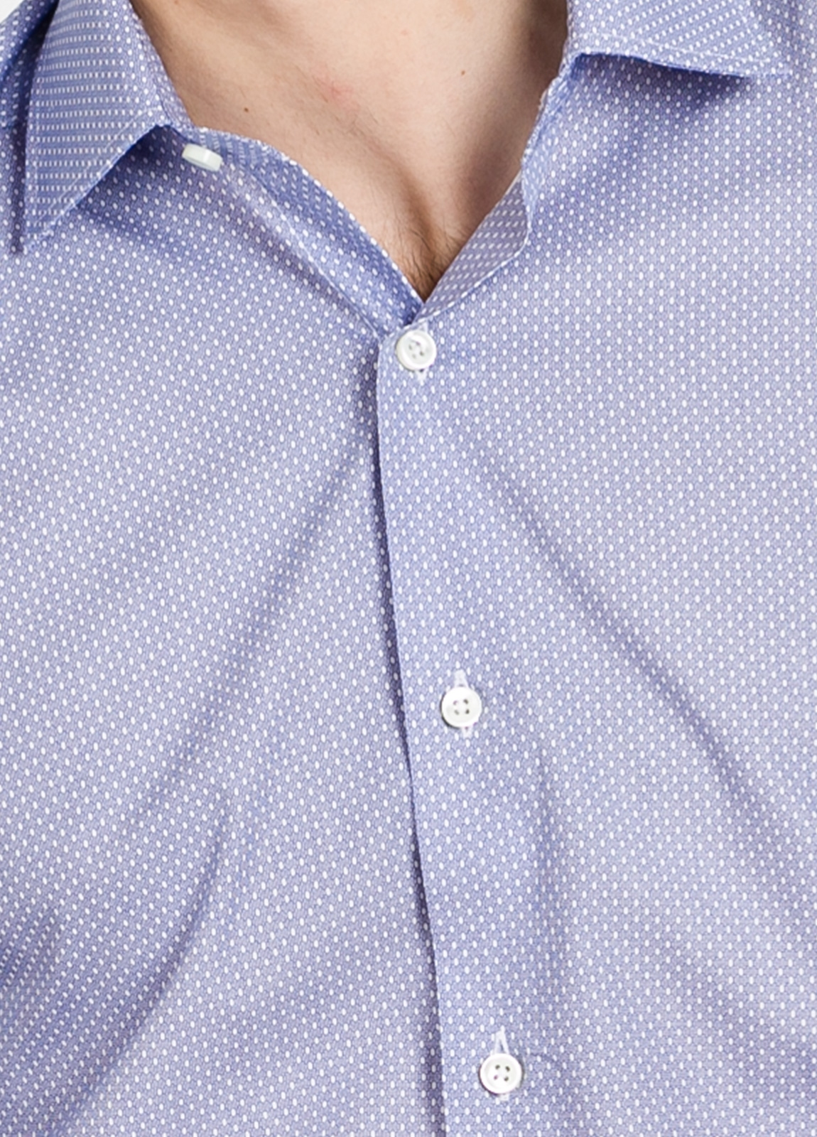 Camisa Formal Wear SLIM FIT cuello italiano modelo ROMA microdibujo color azul. 100% Algodón. - Ítem1