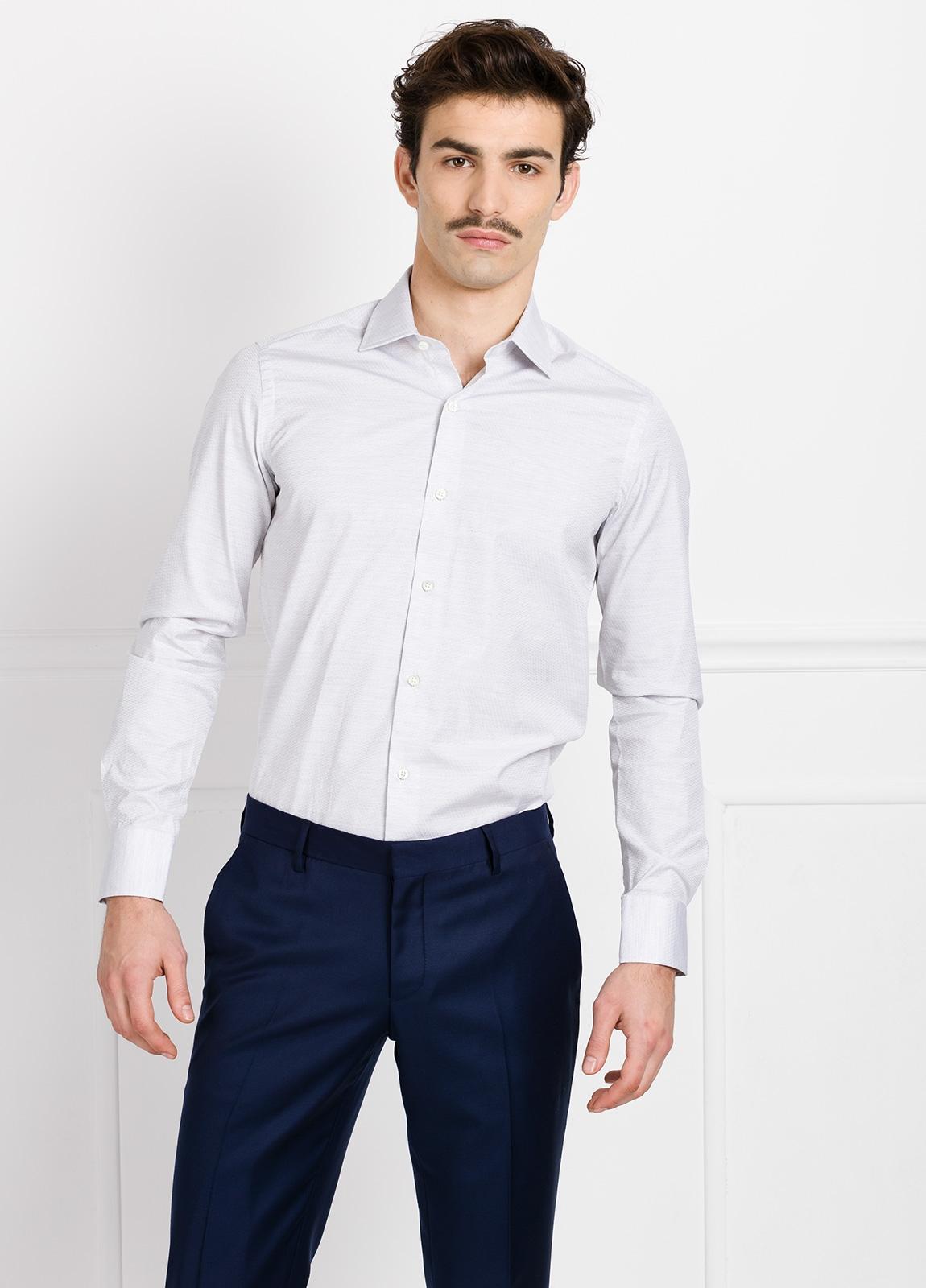 Camisa Formal Wear SLIM FIT cuello italiano modelo ROMA microtextura color gris. 100% Algodón.