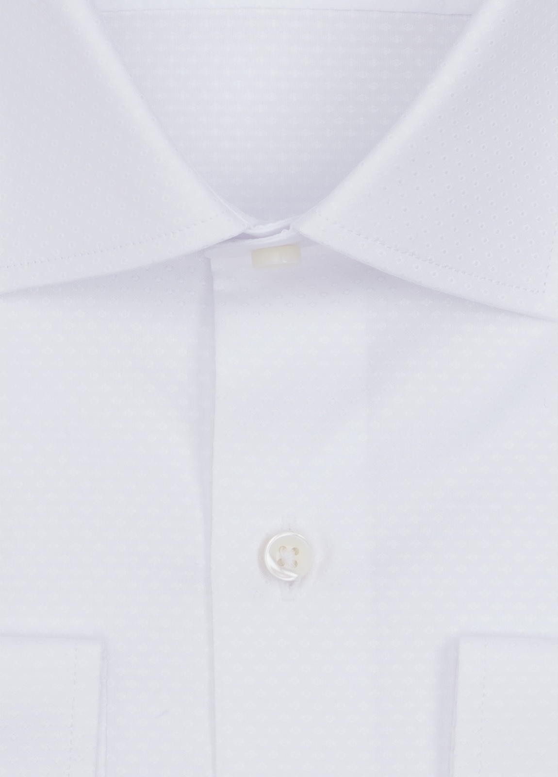 Camisa Formal Wear SLIM FIT cuello italiano modelo ROMA micrograbado color blanco. 100% Algodón. - Ítem1