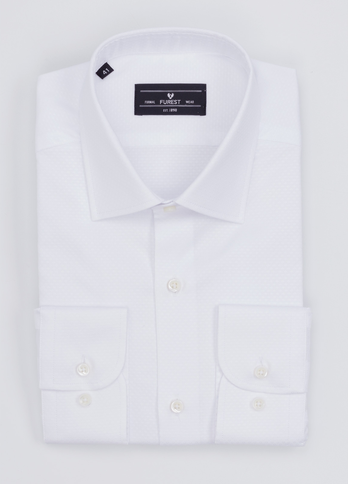 Camisa Formal Wear SLIM FIT cuello italiano modelo ROMA micrograbado color blanco. 100% Algodón.